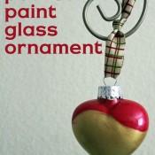 poured paint glass ornament