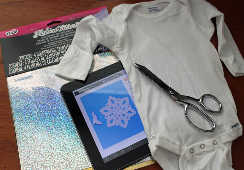 supplies for shimmer snowflake onesie