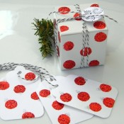 Glitter dot packaging and wrapping