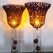 glitter bell candle sconces