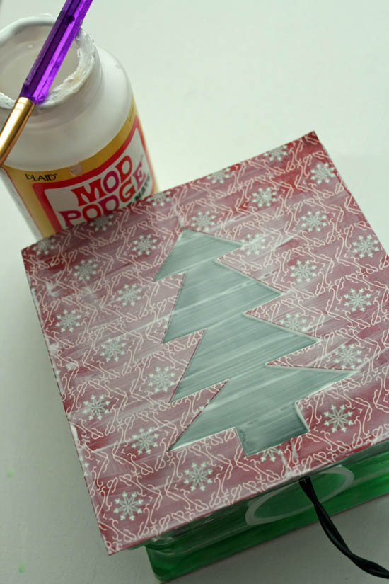 mod podge paper onto light