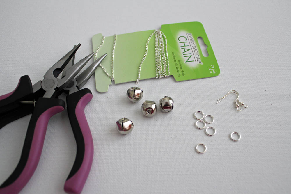 supplies needed for jingle bell earrings