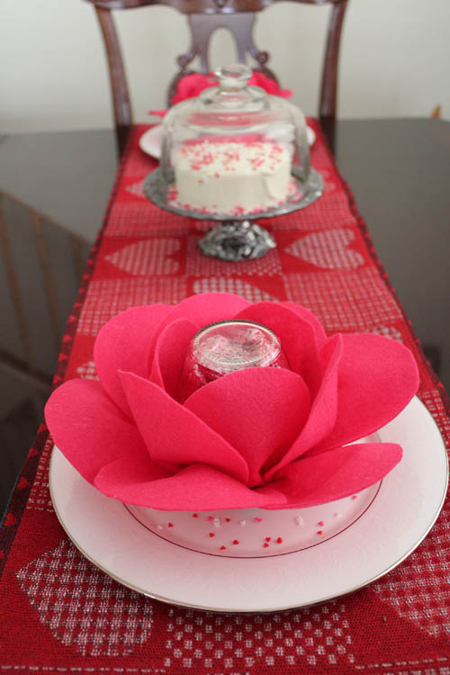 giant roses on plates