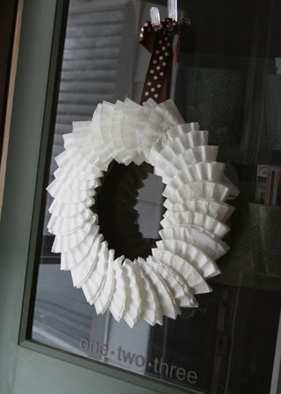 quick coffee filter wreath