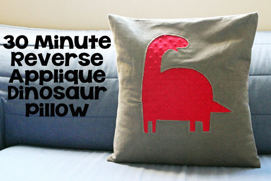30 Minute Reverse Applique Dinosaur Pillow