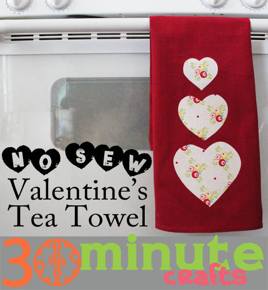No Sew Valentines Tea Towel