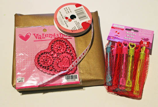 supplies for valentine's gift wrap
