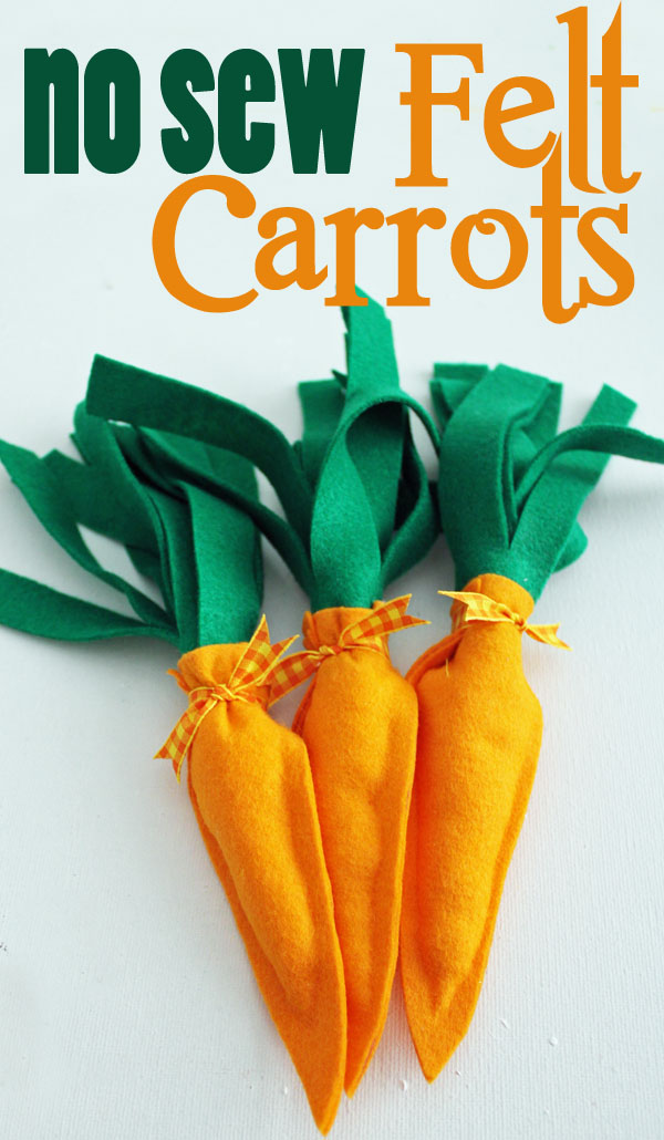 No Sew Felt Carrots are made with a glue gun!