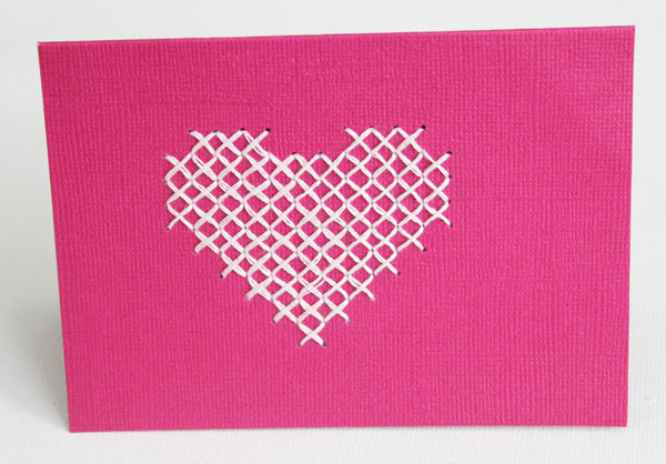 cross stitch heart card