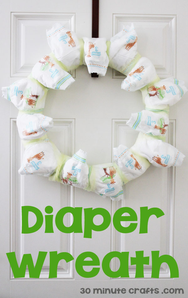 Baby shower diaper wreath 30 minute crafts for Baby shower paper crafts