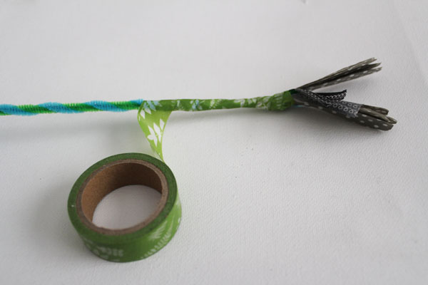 Cover flower stem in washi tape