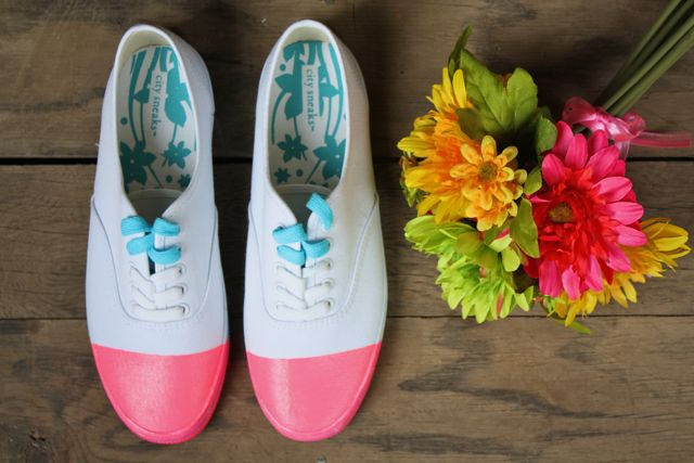 DIY pink cap toe shoes - yesterday on tuesday