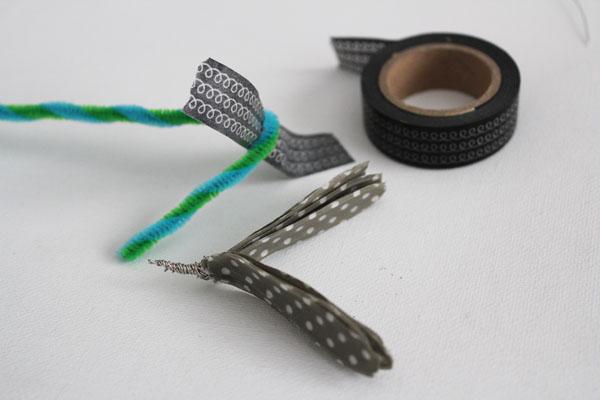 add stem to washi tape flower