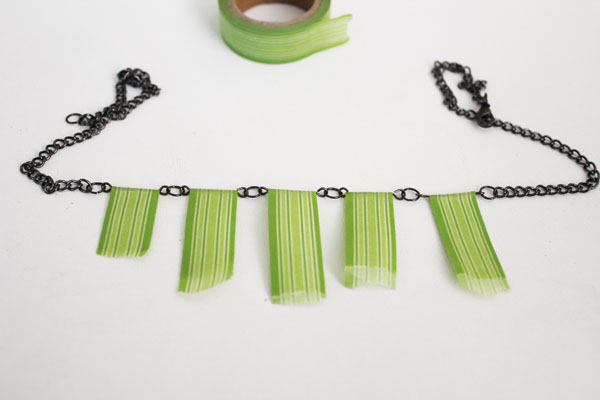add washi tape to necklace