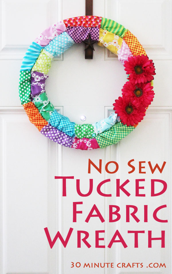 no sew tucked fabric wreath