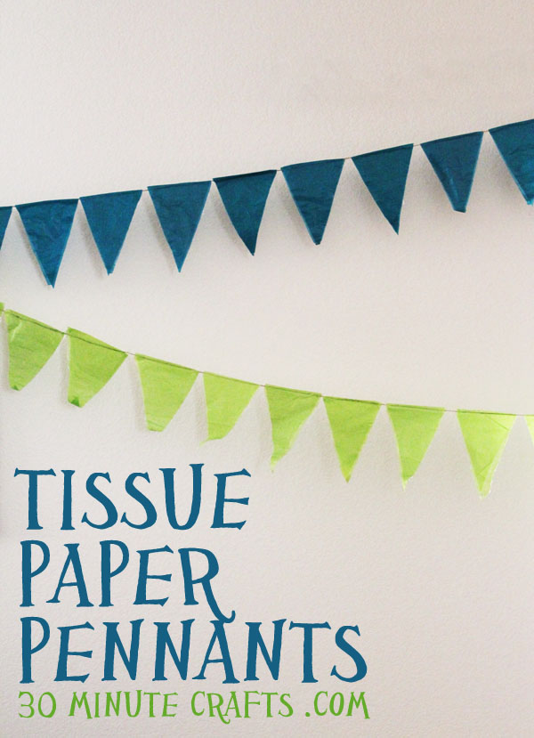 Pennant Banner Birthday Decorations With Tissue Paper And Mod Podge