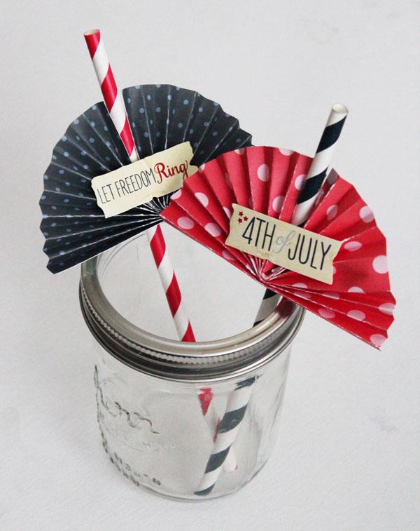 Patriotic Bunting Straws