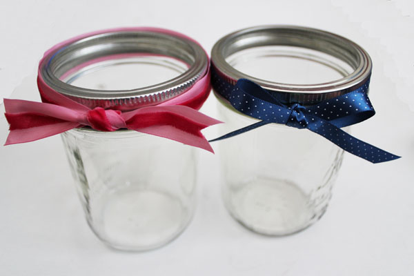 Ribbons on Mason Jars
