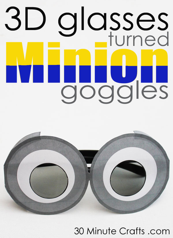 graphic about Minion Symbol Printable called 3D Minion Goggles - 30 Instant Crafts