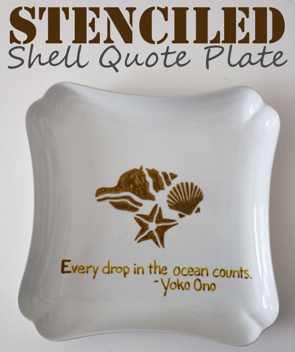stenciled shell quote plate
