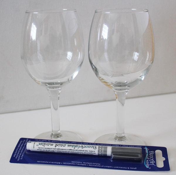 wine glasses and DecoArt glass paint pen