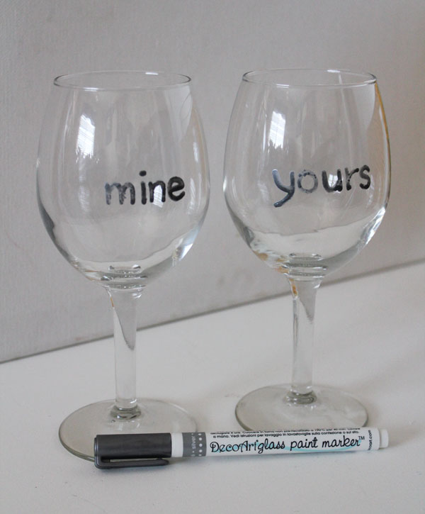 yours and mine wine glasses 30 minute crafts