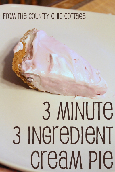 3 minute 3 ingredient quick and easy cream pie