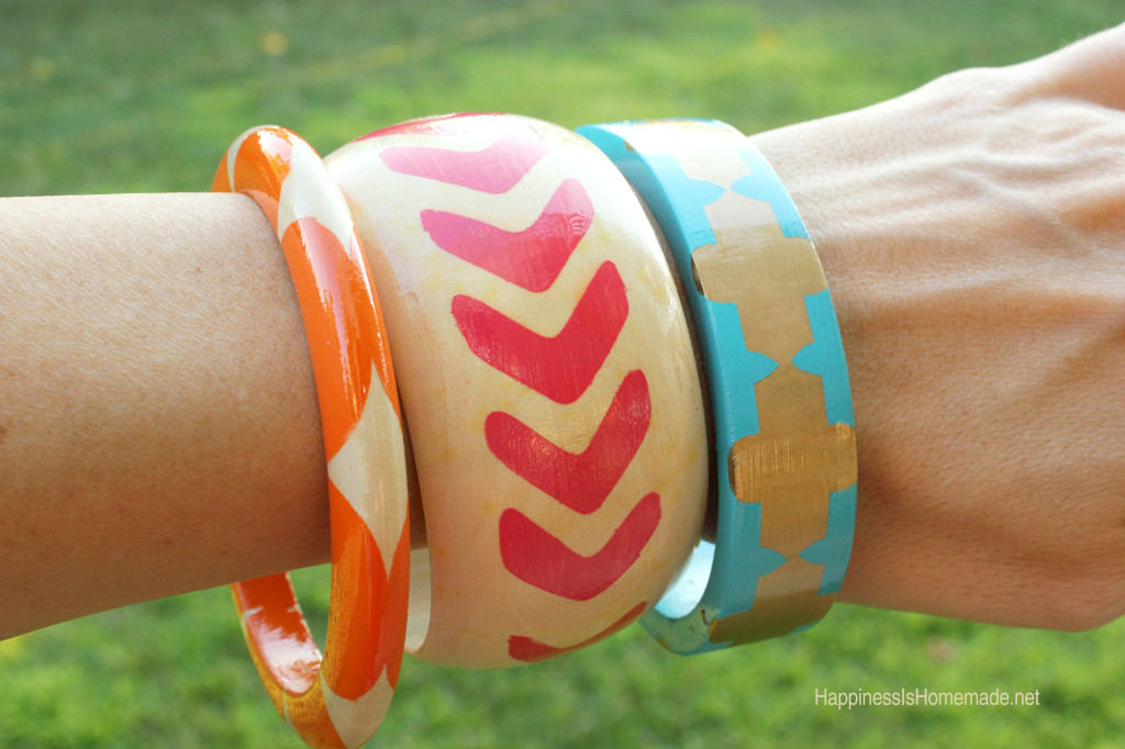 Painted-Wood-Bangle-Bracelets - Happiness is Homemade