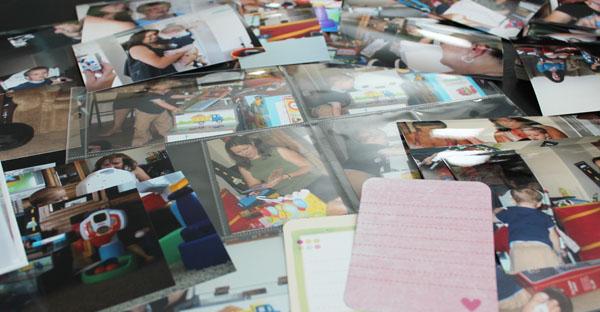 sorting through photos