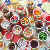 candy display in mason jars
