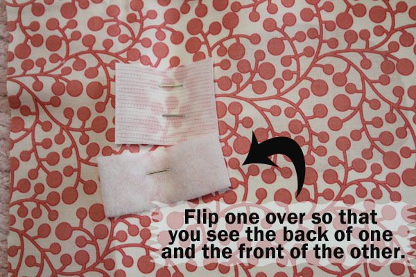 flip over one of the velcro and pin to the fabric