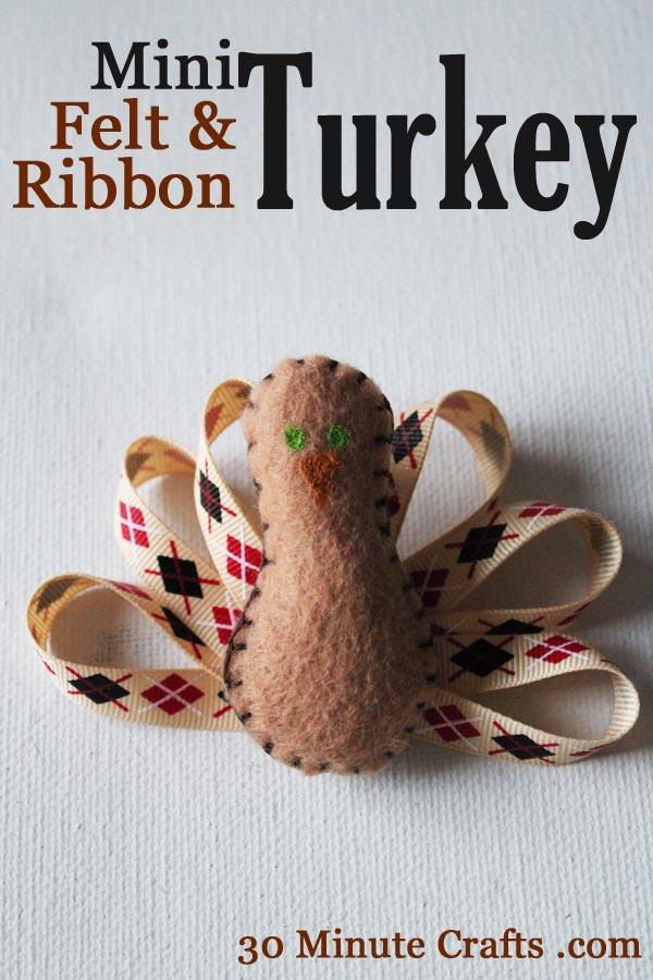 Mini Felt and Ribbon Turkey