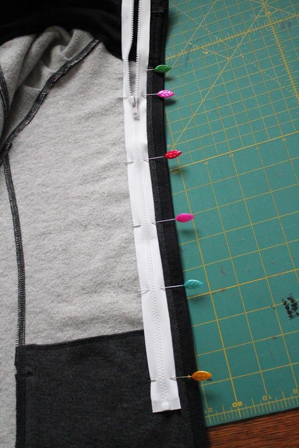 pin zipper in place