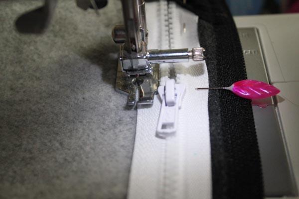 stitch down side of zipper