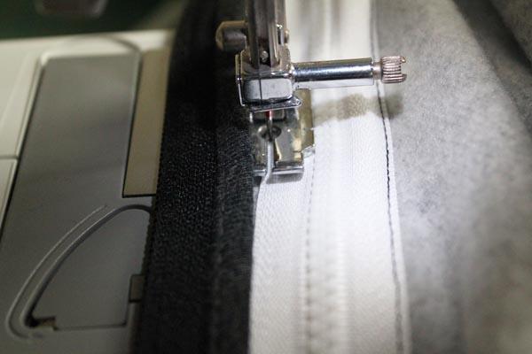 stitch sides of zipper