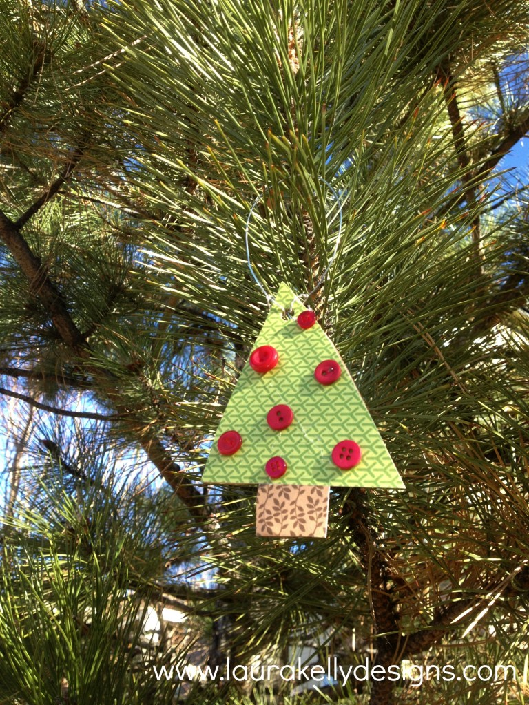 Decoupage Button Tree Ornament - Laura Kelly Designs