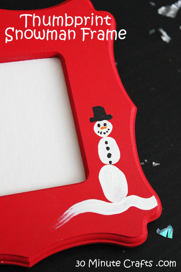Simple Thumbprint Snowman Frame