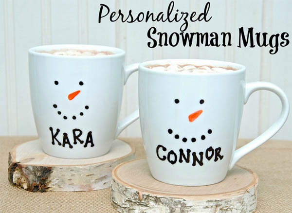 personalized snowman mug