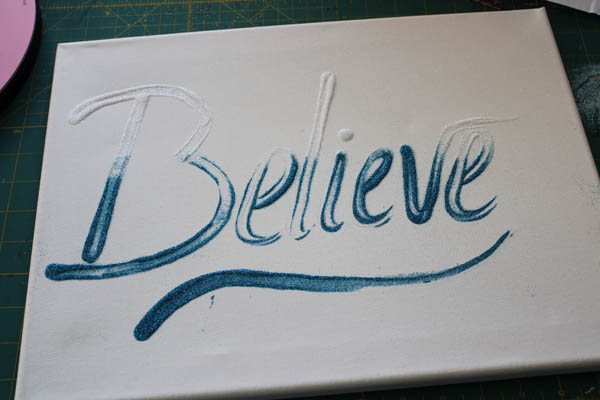 Believe Canvas with first set of glitter