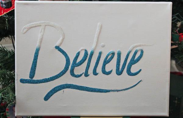 Believe Glitter Canvas
