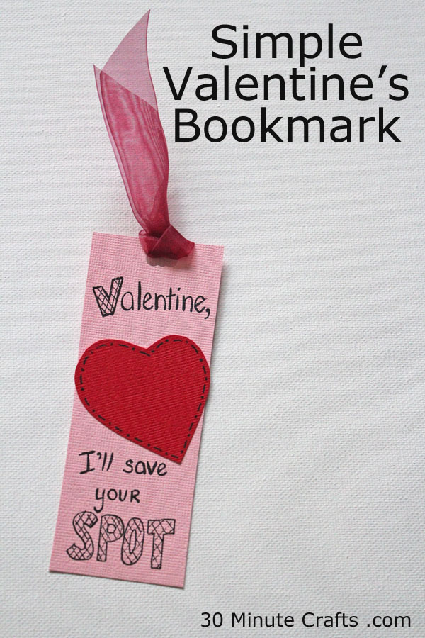 Simple Valentine's Bookmark
