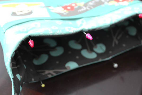 pin lining to outside to top stitch