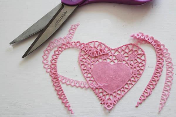trim pink doilies