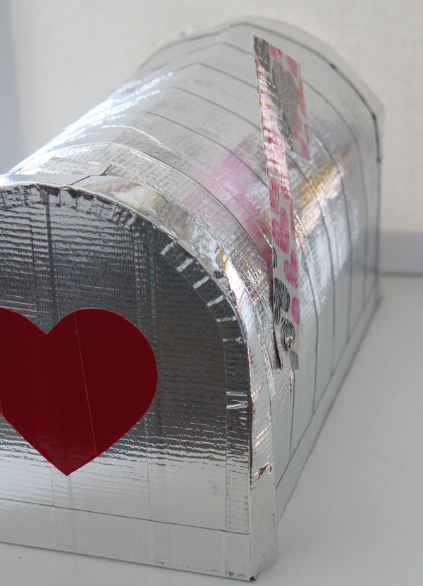 Duck Tape Mailbox ready for Valentine's Day