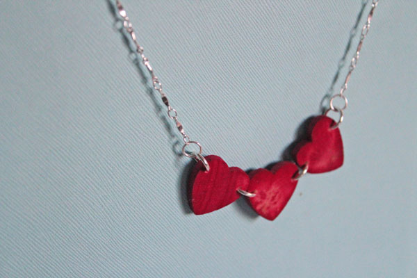 Dyed heart necklace