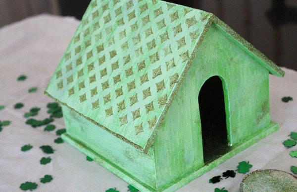 Glittered Mod Podge Leprechaun House