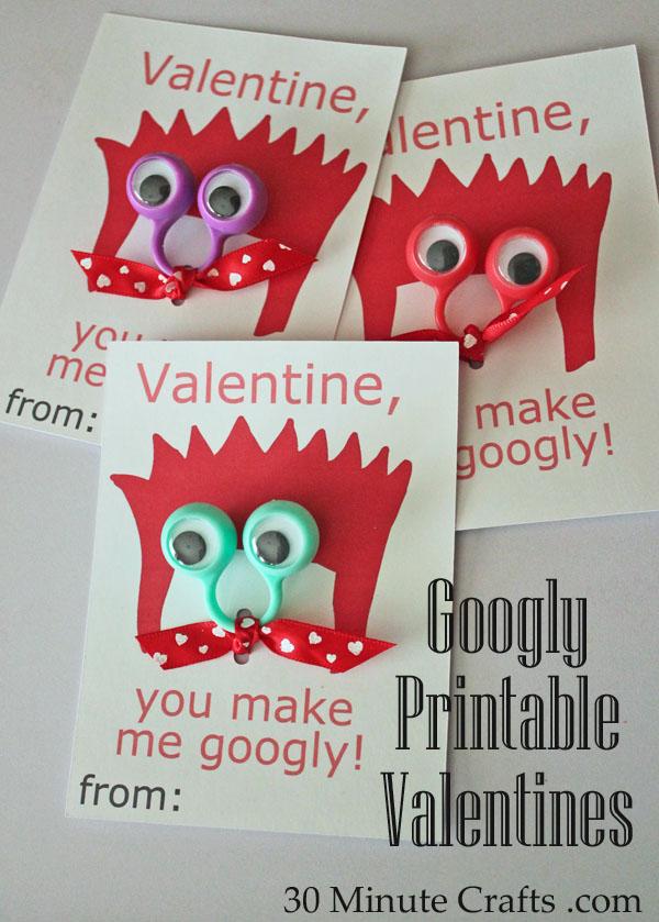 Googly printable valentines