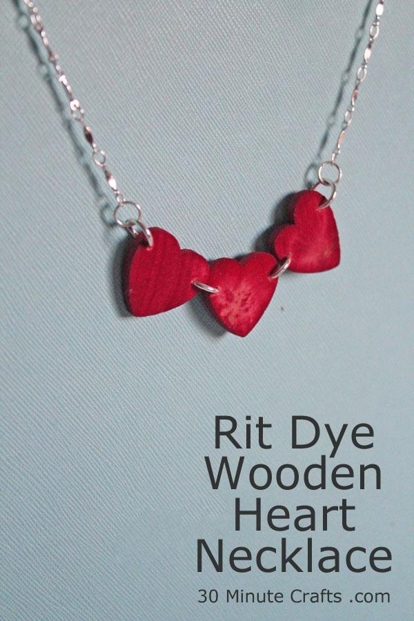 RIT Dye Wooden Heart Necklace