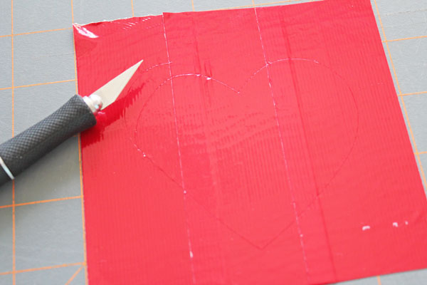 cut heart out of duck tape