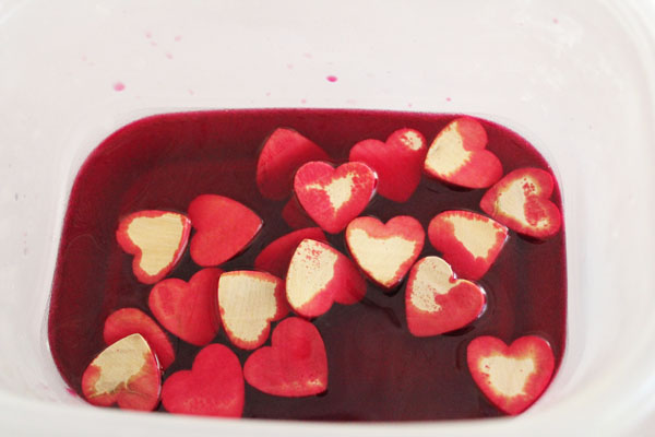 hearts tossed into dye